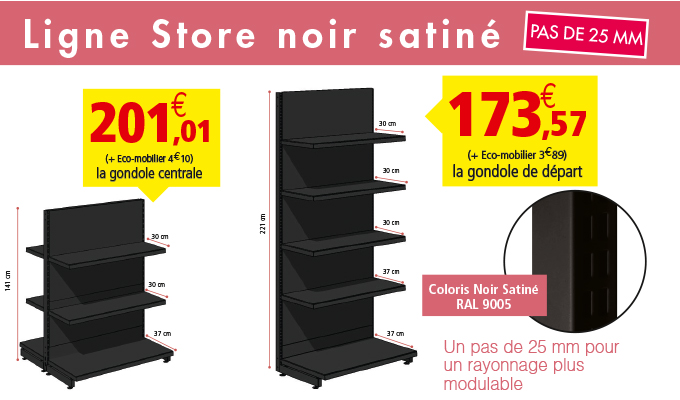gondole m tallique noire pas de 25 mm rouxel. Black Bedroom Furniture Sets. Home Design Ideas