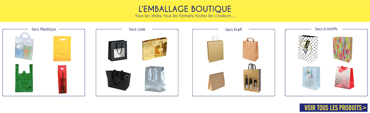 L'EMBALLAGE BOUTIQUE : sacs plastique, sac luxe, sac kraft, sacs à motifs